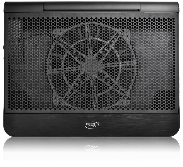 """DEEPCOOL """"N6000"""", Notebook Cooling Pad up to 17"""", 1x Blue LED fan  - 200mm  with fan speed control button, 400-700rpm, <16~23 dBA, 73.4CFM, LED lights switch, Dual USB ports, Honeycomb Metal Mesh panel, Black"""