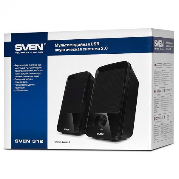 "SVEN 312 Black (USB),  2.0 / 2x2W RMS, USB power supply, 2.75"""