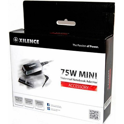 XILENCE XP-LP75.XM008, 75W Mini, Universal Notebook Power Adapter, 11 (+LENOVO) different tips, LED display (shows the actual output voltage), Input Voltage: AC 100-240V, Output Voltage: 15-24V, high efficiency over 87%, Black