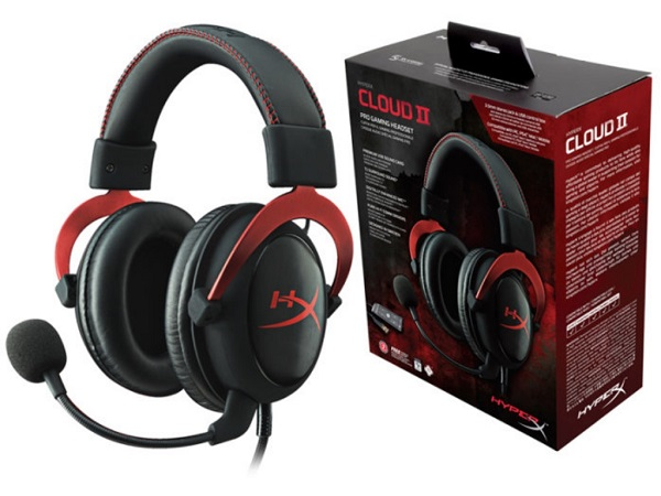 Headset  HyperX Cloud II, Red, Solid aluminium build, Microphone: detachable, USB Surround Sound 7.1, Frequency response: 15Hz–25,000 Hz, Cable length:1m+2m extension, 3.5 jack, Pure Hi-Fi capable, Braided cable, Mesh bag