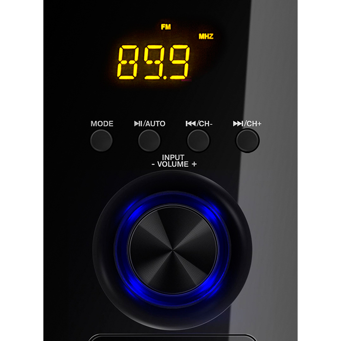 SVEN MS-2050 Black,  2.1 / 30W + 2x12.5W RMS, Bluetooth, FM-tuner, USB & SD card Input, Digital LED display, built-in clock, set the switch-off time, remote control, all wooden