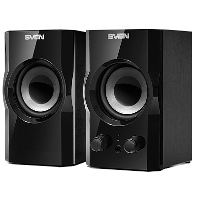 "SVEN SPS-606 Black,  2.0 / 2x3W RMS, magnetic shielding, headphone jack, wooden,  2.5"""