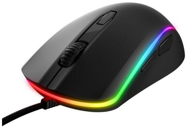 HYPERX Pulsefire SURGE Gaming Mouse, 200–16000 DPI, 4 DPI presets, Pixart 3389 sensor, Light ring provides dynamic 360° RGB effects, 6 x button mouse with ultra-responsive Omron switches, USB, 130g