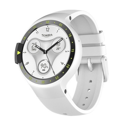 """Ticwatch  S by Mobvoi, Glacier White, 1.4"""" OLED Touch Display, Wear OS by Google, 512MB/4GB, GPS, Time,Mic/Speaker for incoming calls, Heart Rate, Steps, Alarm, Distance Display, Average Daily Steps, Weather, Notifications, IP67, 48Hrs+, BT4.1, 45.5g"""