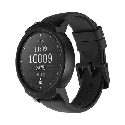"Ticwatch  E by Mobvoi, Shadow Black, 1.4"" OLED Touch Display, Wear OS by Google, 512MB/4GB, Time, Mic/Speaker for incoming calls, Heart Rate, Steps, Alarm, Distance Display, Average Daily Steps, Weather, Notifications, IP67, 48Hrs+, BT4.1, 41.5g"