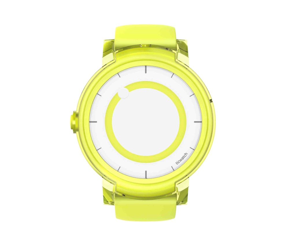 """Ticwatch  E by Mobvoi, Lemon Yellow, 1.4"""" OLED Touch Display, Wear OS by Google, 512MB/4GB, Time, Mic/Speaker for incoming calls, Heart Rate, Steps, Alarm, Distance Display, Average Daily Steps, Weather, Notifications, IP67, 48Hrs+, BT4.1, 41.5g"""