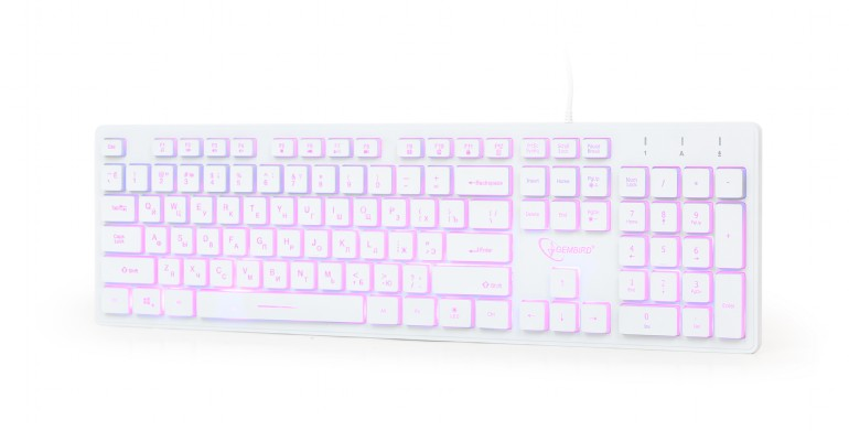 Gembird KB-UML3-01-W-RU Multimedia keyboard, Silent, 3-color backlight, 12 practical multimedia hotkeys, RU layout, USB, White