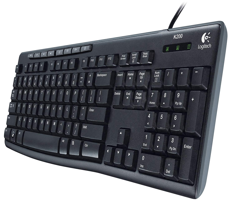 Logitech Media Keyboard K200, 8-hot keys, USB