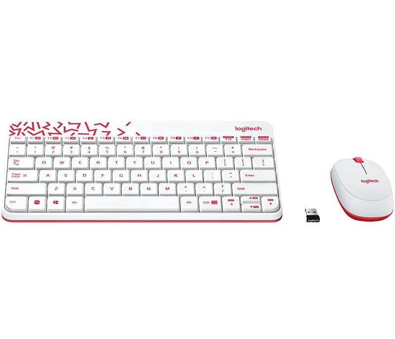 Logitech Wireless Desktop MK240 Nano USB, Keyboard + Mouse, 2.4GHz nano USB receiver, White/Red, Retail