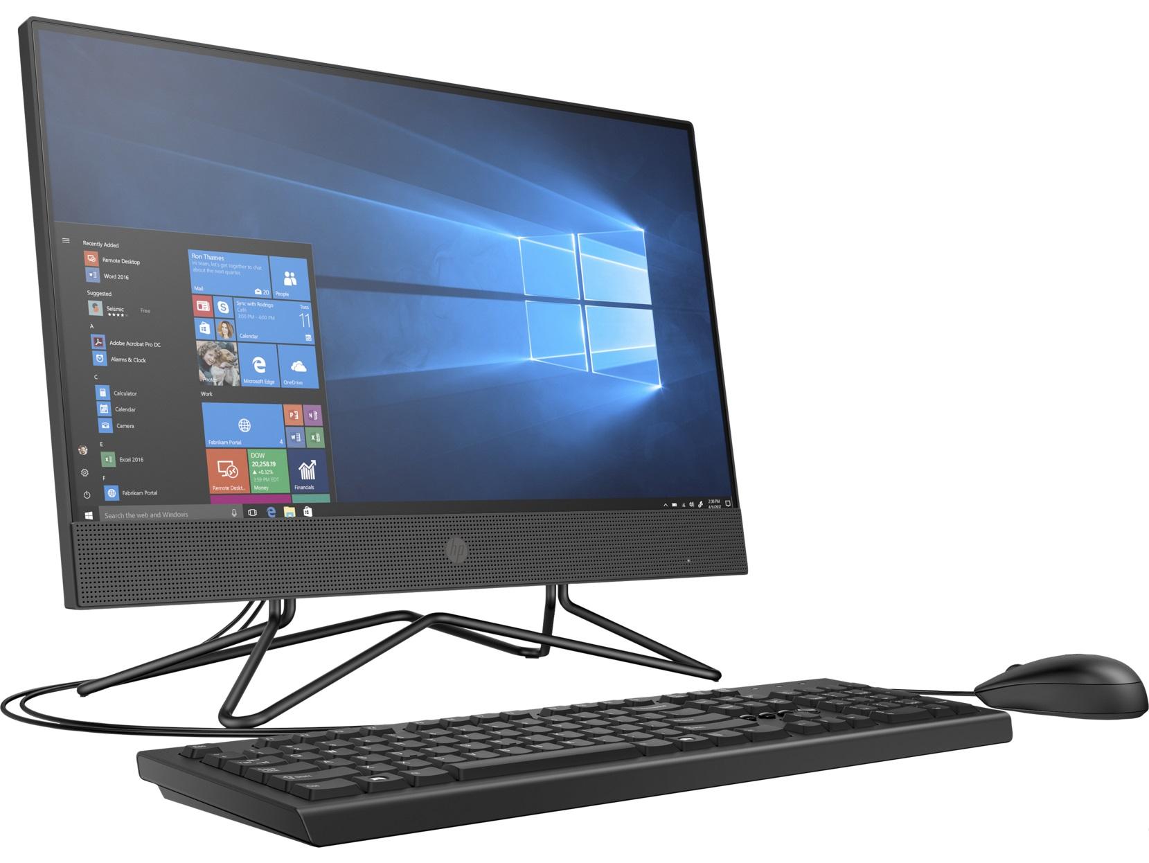 "All-in-One PC - 21.5"" HP 200 G4 FHD IPS, Intel® Core® i3-10110U, 4GB DDR4 RAM, 1TB HDD, Intel® HD 620 Graphics, DVD-RW, CR, HD cam, WiFi+BT4.2, LAN, 65W PSU, USB KB/MS, DOS, Iron Gray."