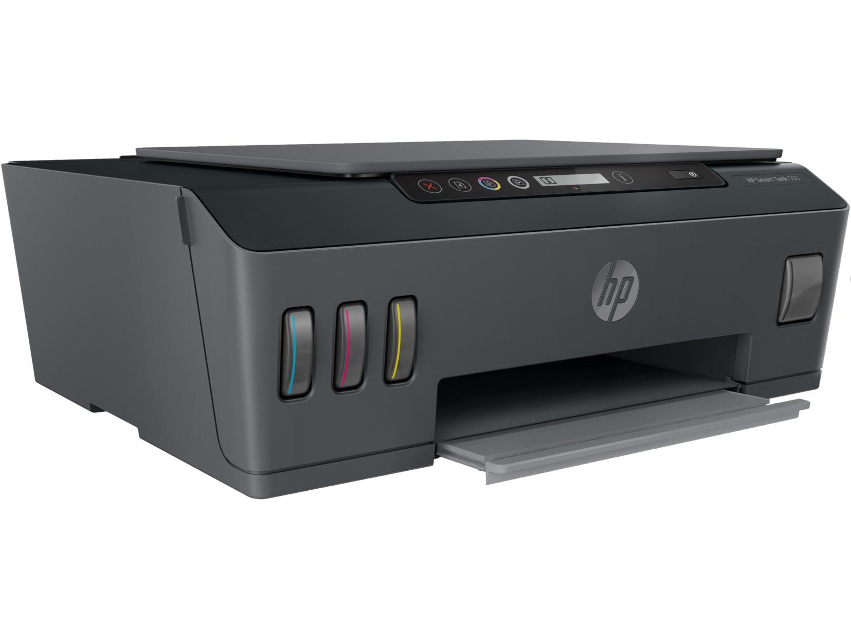 MFD CISS HP Smart Tank 500, Black/Gray, A4, up to 11ppm/5ppm black/color, up to 4800x1200 dpi,  Scan 1200 x 1200, Up to 800 p/m, 800Mhz, 256 Mb, 7 segment LCD, Hi-Speed USB 2.0, (3*GT53XL Black 135ml, 1*GT52 C/M/Y)