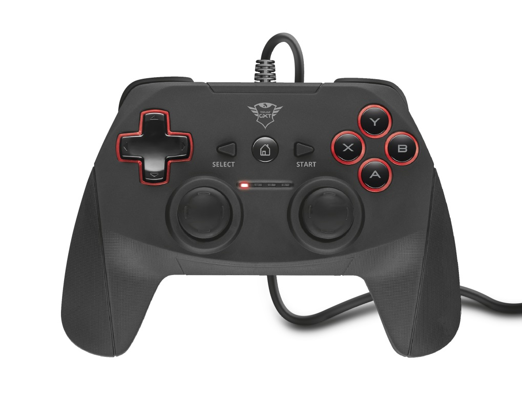 Trust GXT 540 Yula Wired Gamepad  for PC and PlayStation 3, 13 buttons, 2 joysticks and D-pad, 3m cable, Black